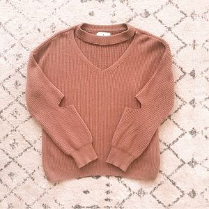 Anthropologie | Ruby Moon cut out V neck sweater